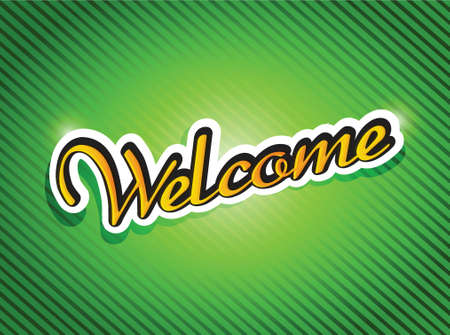 locution: welcome sign card illustration design over a green background Illustration
