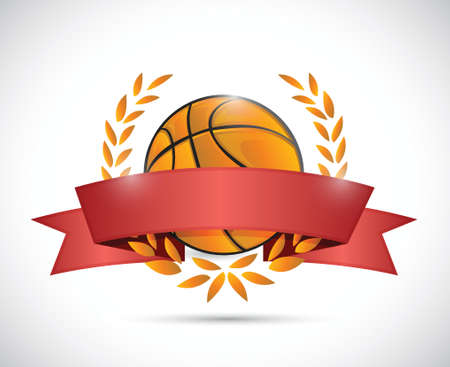 original circular abstract: basket ball laurels and ribbon illustration design over a white background