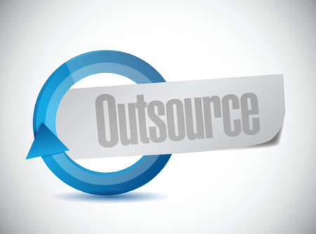 downsizing: Outsource cycle sign illustration design over a white background Illustration
