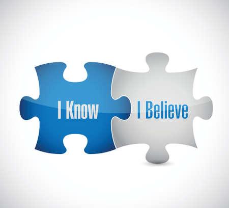 believe: Sé que creo rompecabezas de piezas de diseño ilustración sobre un fondo blanco Vectores