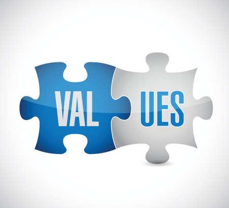 valores morales: Los valores de cálculo piezas del rompecabezas ilustración sobre un fondo blanco
