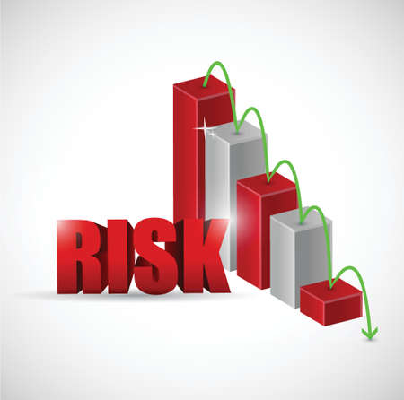 credit risk: risk red business graph illustration design over a white background