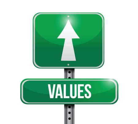 valores morales: Los valores de cálculo muestra de la calle ilustración sobre un fondo blanco