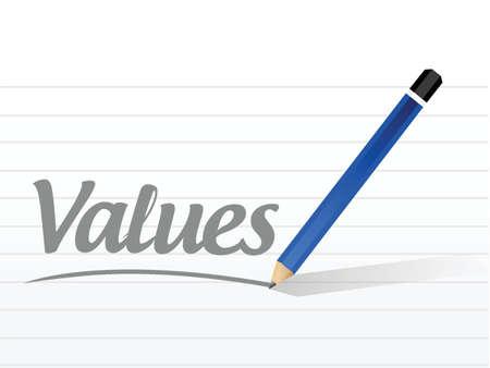 valores morales: valores de diseño signo mensaje ilustración sobre un fondo blanco Vectores
