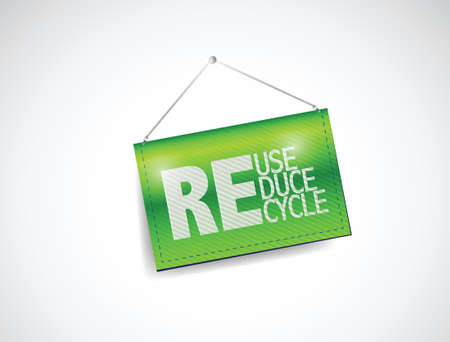 hanging banner: reduce, reuse, recycle hanging banner illustration design over a white background