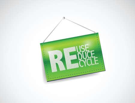 reduce reutiliza recicla: reducir, reutilizar, reciclar colgando dise�o ilustraci�n de la bandera sobre un fondo blanco