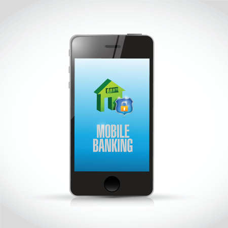 mobile banking: phone mobile banking illustration design over a white background