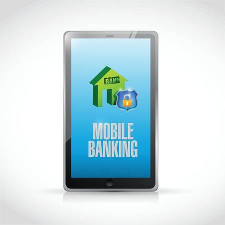 mobile banking: tablet mobile banking illustration design over a white background