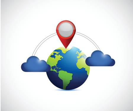 checkpoint: globe and cloud communication locator. illustration design over a white background