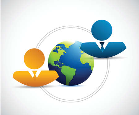 people and globe concept illustration design over a white background