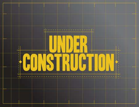 onder constructie teken illustratie ontwerp op een zwarte achtergrond