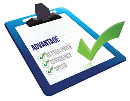 advantages: advantage list checkmark illustration design over a white background