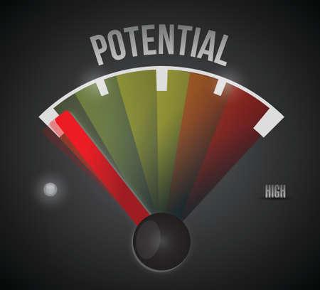 potential: low potential speedometer illustration design over a black background