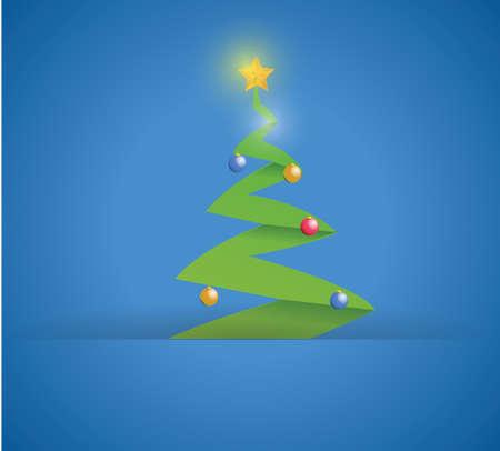 christmas tree inside a paper pocket illustration design over a blue background 矢量图像