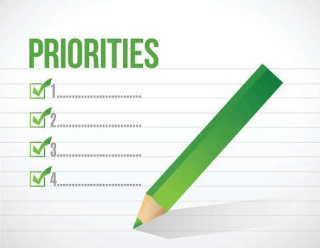 prioridades: prioridades lista de notas ilustraci�n dise�o sobre un fondo blanco Vectores