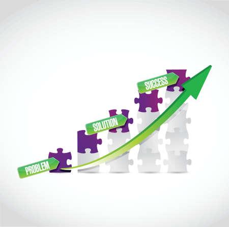 problem, solution, success puzzle graph illustration design over a white background