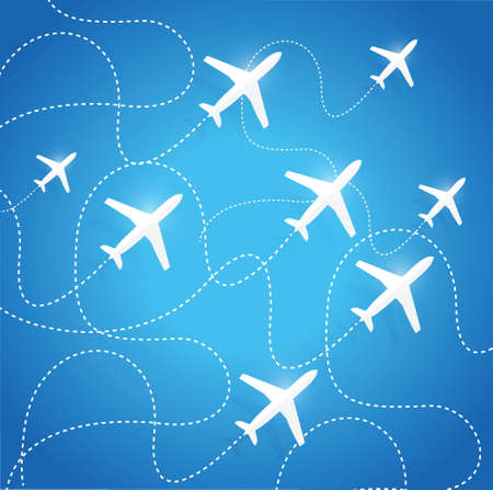 airplanes flying in the same path illustration design over a blue background Иллюстрация