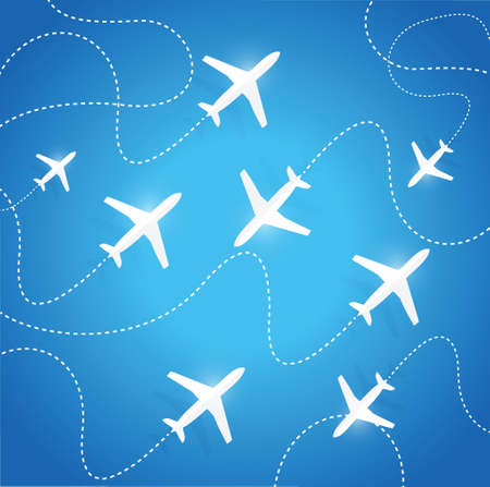 trajectory: planes flying in different directions. illustration design over a blue background