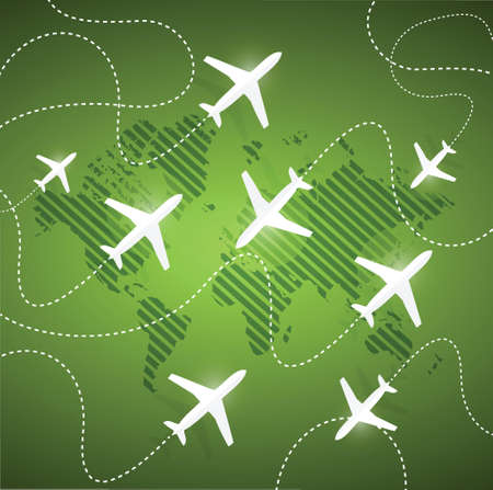 planes flying around the globe. illustration design over a green background