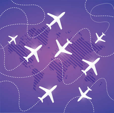 airplanes air paths illustration design over a purple background
