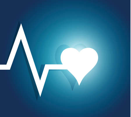 ecg monitoring: lifeline and heart. illustration design over a blue background