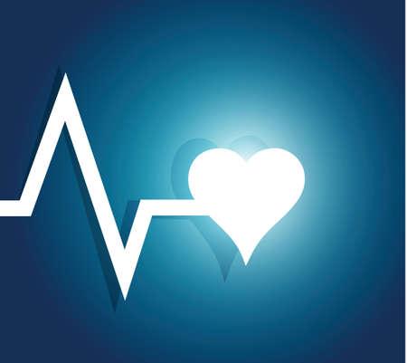 lifeline and heart. illustration design over a blue background