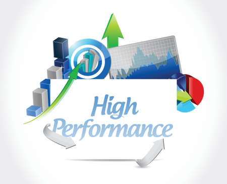 high performance: high performance business sign illustration design over a white background