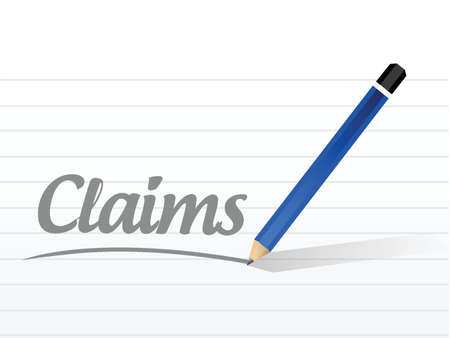 compensate: claims sign illustration design over a white background