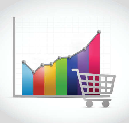 sales meeting: colorful shopping cart business graph illustration design over a white background