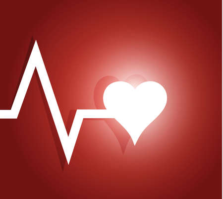 cardioid: l�nea de vida y coraz�n. Ilustraci�n de dise�o sobre un fondo rojo