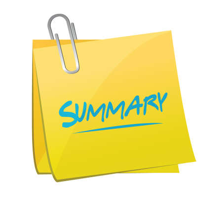 synopsis: summary memo post illustration design over a white background