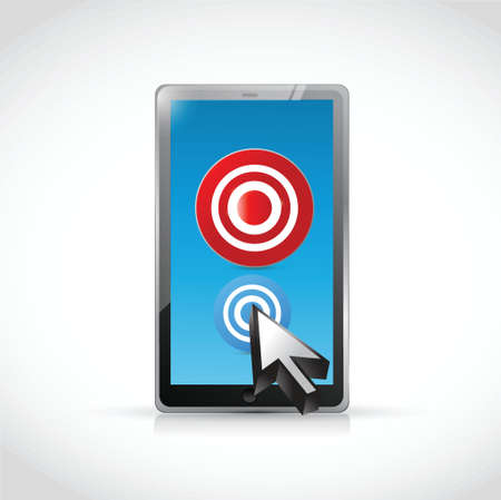 targeted: tablet and targets illustration design over a white background