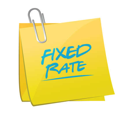 fixed rate post it memo illustration design over a white background
