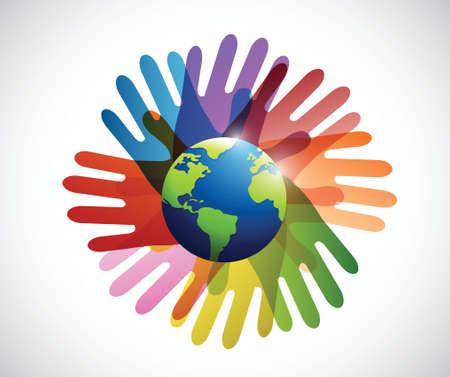 diversity hands around the globe illustration design over a white background Ilustrace