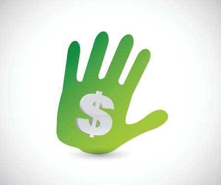 handprint and dollar sign illustration design over a white background 向量圖像