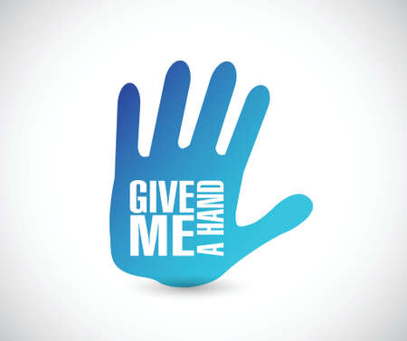 give: give me a hand illustration design over a white background