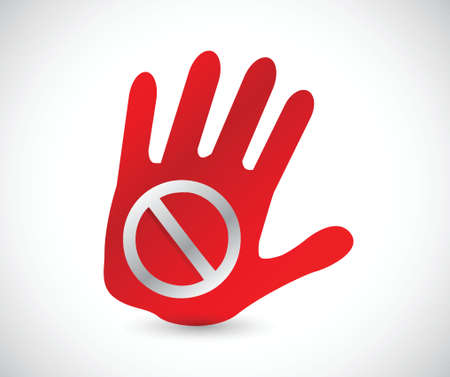 do not touch: do not sign on a handprint illustration design over a white background