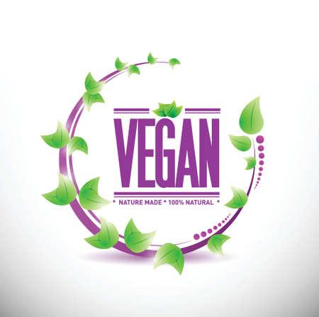 natural leaves vegan sign illustration design over a white background Vector