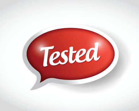 qualify: tested red message bubble illustration design over a white background