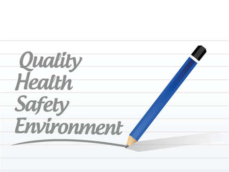medio ambiente: calidad, salud, seguridad y medio ambiente signo ilustración diseño sobre un fondo blanco Vectores