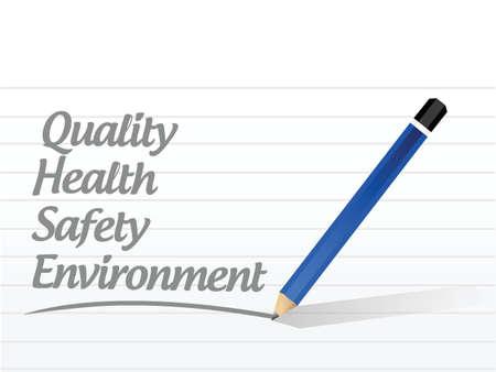 kwaliteit, gezondheid, veiligheid en illustratie ontwerpomgeving teken op een witte achtergrond