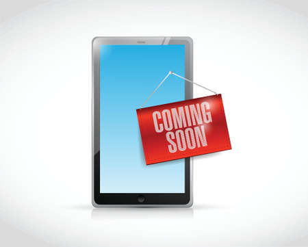coming soon tablet illustration design over a white background Vettoriali