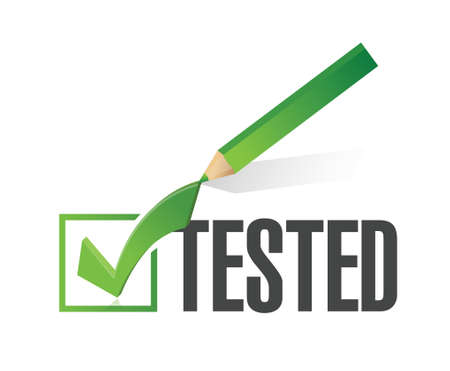 qualify: tested check mark illustration design over a white background