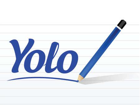 oncept: yolo sign message illustration design over a white background