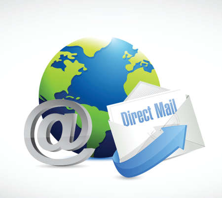 direct mail: globe at symbol and direct mail illustration design over a white background Illustration
