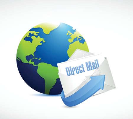 direct mail: direct mail globe illustration design over a white background Illustration