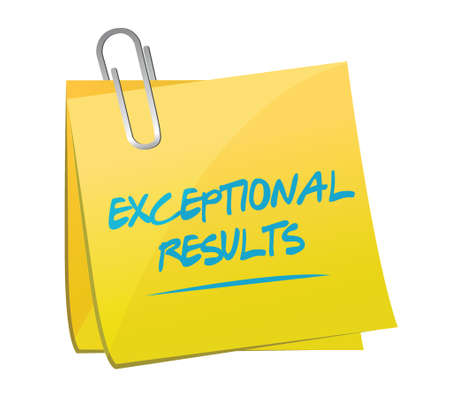 exceptional results memo post illustration design over a white background