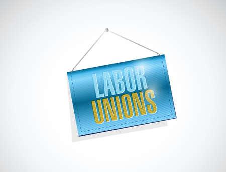 multilevel: labor unions banner sign illustration design over a white background