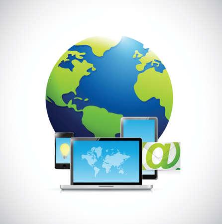 technology electronics and Globe illustration design over a white background Ilustração