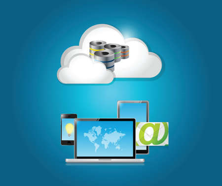 technology electronics and cloud illustration design over a white background Vector